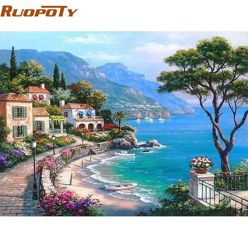 Cadre de RUOPOTY la mer méditerranée peinture à la main par numéros paysage marin peint à la main peinture à l'huile maison mur œuvre pour salon