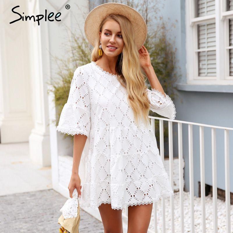 Simplee Flare sleeve cotton white lace dress women Hollow out loose casual dress 2018 Summer high waist short dress vestidos