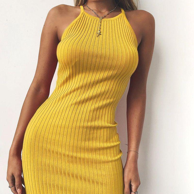 Femmes Sexy Club dos nu Spaghetti sangle robe d'été 2018 coton dames élastique moulante noir jaune fête Mini robes Vestido
