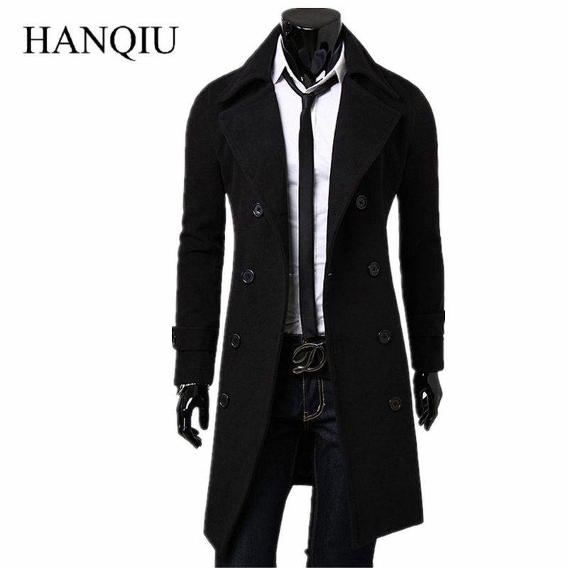 Herren Trenchcoat 2017 New Fashion Designer Männer Langen Mantel Herbst Winter Zweireiher Winddichte Dünne Trenchcoat Männer Plus Größe