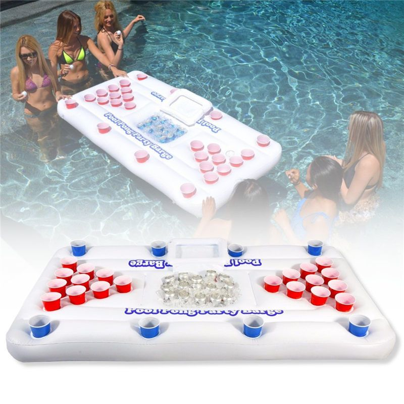 2018 New Summer Water Sports Party Fun Air Mattress Ice Bucket Cooler 185cm 28 Cup Holder Inflatable Beer Pong Table Pool Floats