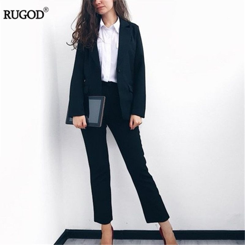 Rugod 2018 Hot Elegant Office Lady Business Suits for Women 2 Two piece Sets Female Long Sleeve Blazer and Pants Suit Plus Size