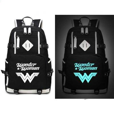 Wonder Woman Backpack Cosplay Anime Canvas Bag Luminous Schoolbag Travel Bags