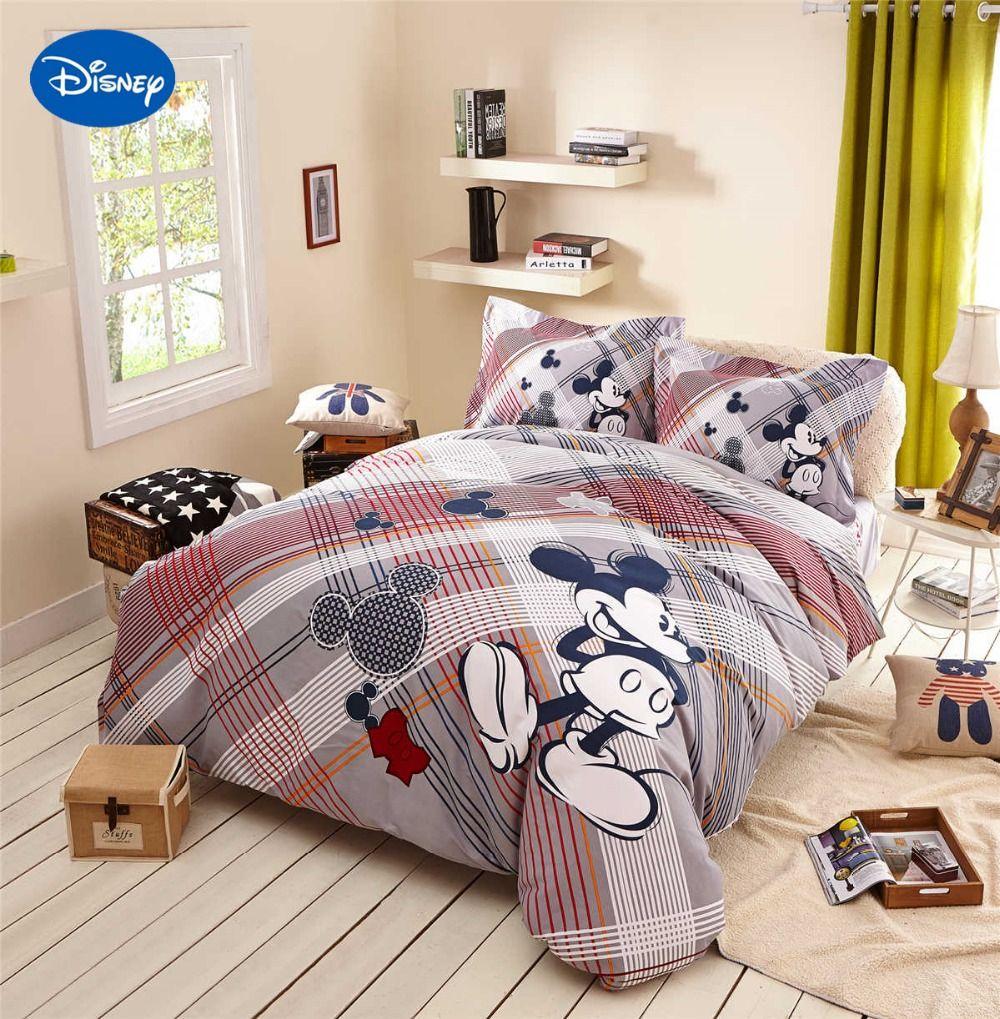 Mickey Mouse Comforters Bedding Textile Children's Home Decor Twin Queen Cartoon Disney Sanding Cotton Warm Soft Winter Striped