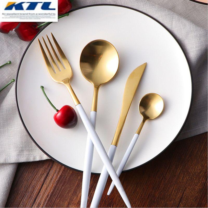 KuBac 24 pièces/ensemble doré 18/10 acier inoxydable vaisselle blanc poignée argenterie ensemble fourchette couteau Scoops couverts ensemble maison vaisselle