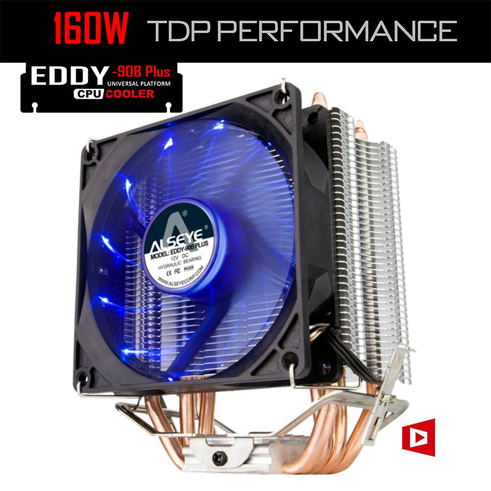ALSEYE 4 Heatpipes CPU Cooler TDP 160W 90mm LED CPU Fan Aluminum Heatsink for LGA 775/1150/1151/1155/1156/1366 & FM1/2,AM2+/3+
