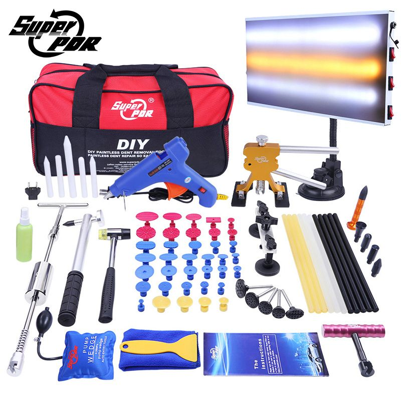 PDR Car Dent Repair Tool set Dent removal tool kit Slide Hammer Aluminum lamp board Dent Puller 68pcs auto body repair tools
