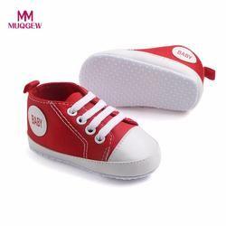 MUQGEW Balita Newborn Bayi Bayi Laki-laki Perempuan Padat Kanvas Sepatu Sneaker Mode Patch Kapas Sepatu Anti-slip Lembut untuk bayi