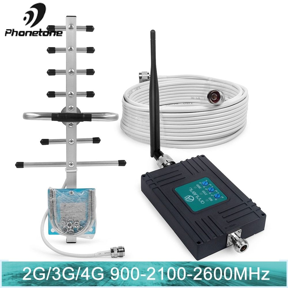 4G LTE 2600MHz Mobile Phone Signal Amplifier Tri Band 2G GSM 3G Internet 900/2100MHz 70dB Gain Cellular Booster Repeater Antenna