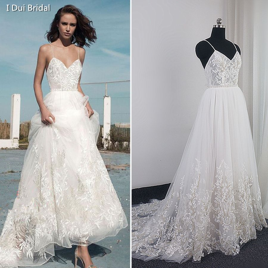 Spaghetti Strap Lace Wedding Dress High Quality Boho Bridal Gown 2018 New Factory Real Photo Carrie