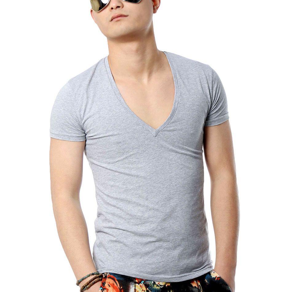 Zecmos profonde col en V Sexy hommes T-Shirt Vintage à manches courtes couleur unie Muscle Fit T-Shirt tee-shirts homme de mode