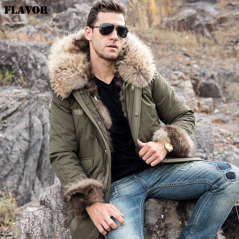 GESCHMACK Männer Echtpelz Parka mit Abnehmbare Rex Kaninchen Pelz Liner Waschbären Pelz Hood herren Winter Warme Daunen Mantel