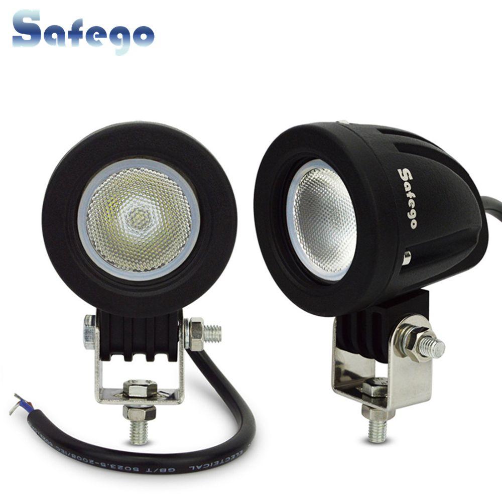 Safego 2 pièces 4 Inch 10 W a mené le guide optique de travail 4X4 Offroad 12 V 24 V ATV 4WD Spot faisceau d'inondation moto tracteur conduite lumières 6000 K