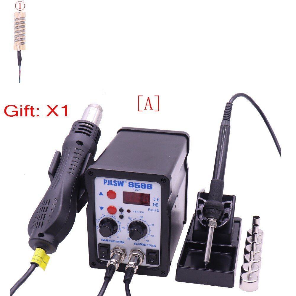 LED Digital Solder Iron Desoldering Station BGA Rework Solder Station Hot Air Gun Welder PJLSW 8586 Solder Station