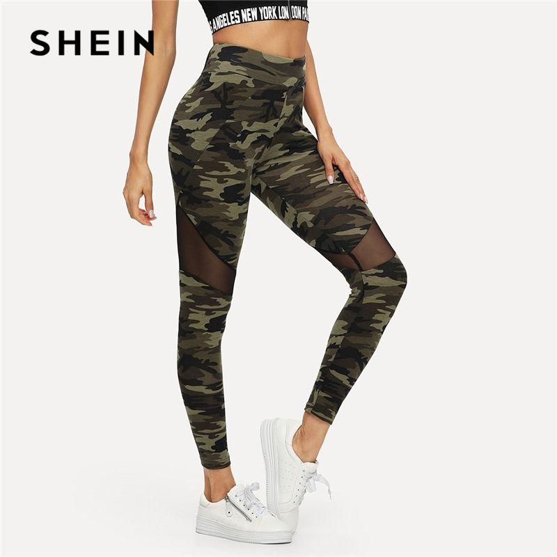 SHEIN multicolore maille insérer Camo imprimé Leggings sport Patchwork pure Crop pantalon femmes automne athloisir Leggings