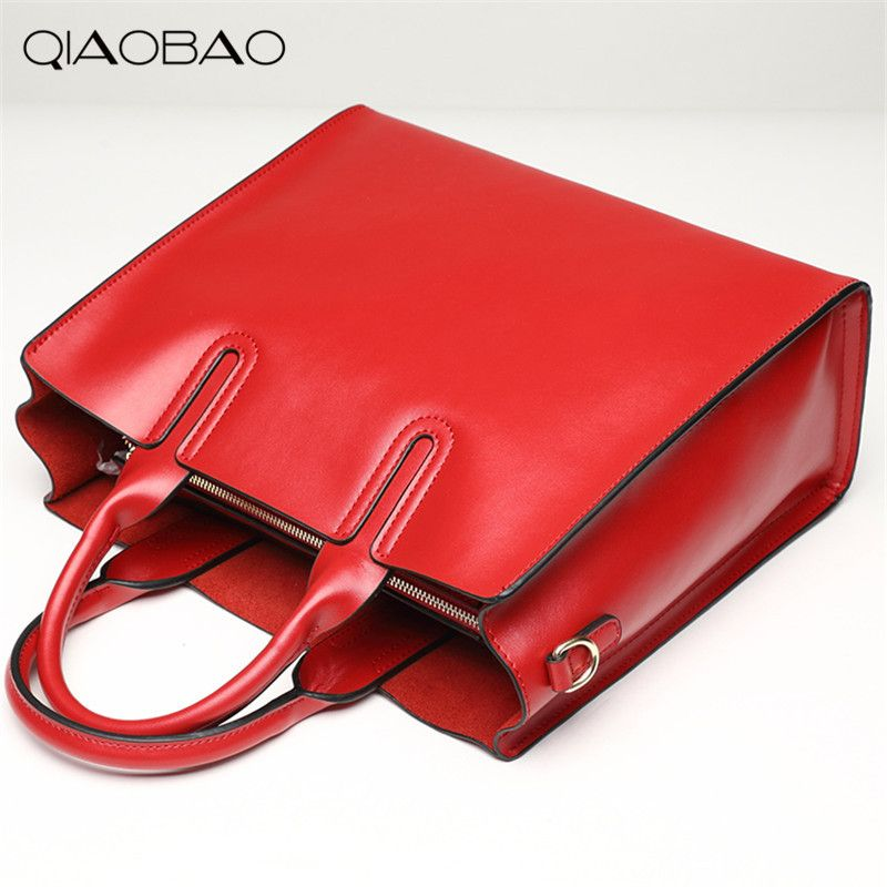 QIAOBAO High quality genuine leather bags ladies cowhide totes female designer fashion big women brown bags crossbody 6color sac