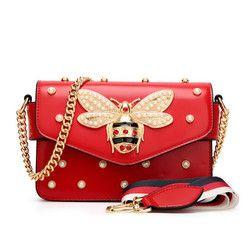 Mode Femmes Messenger Sac Nouvelle Marque En Cuir de Sac D'épaule des Femmes De Luxe Diamant Petite Abeille Femme Sacs À Main Bracelet Sacs Rose Rouge