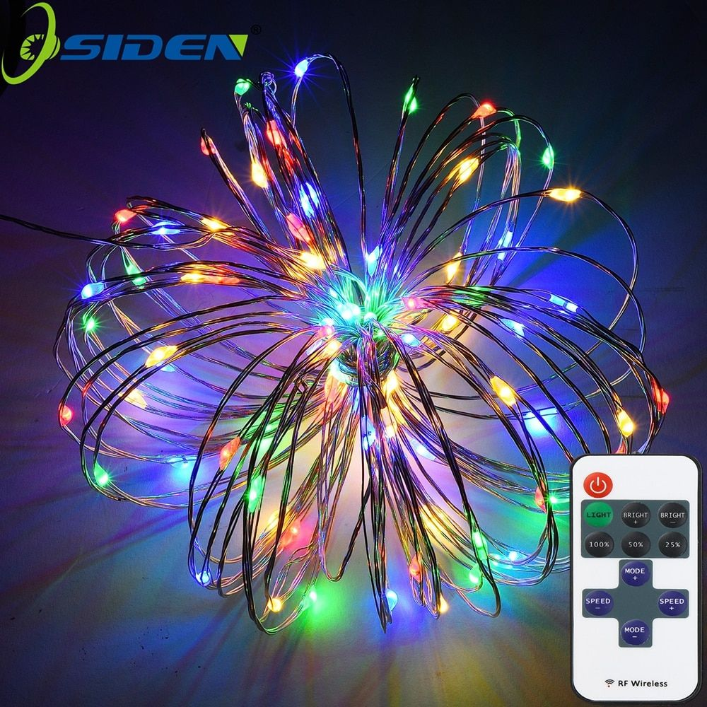 Outdoor String Lights 100 LEDs Decorative Lights 33ft Copper Wire Warm White Dimmable with Remote Control Indoor Outdoor Party