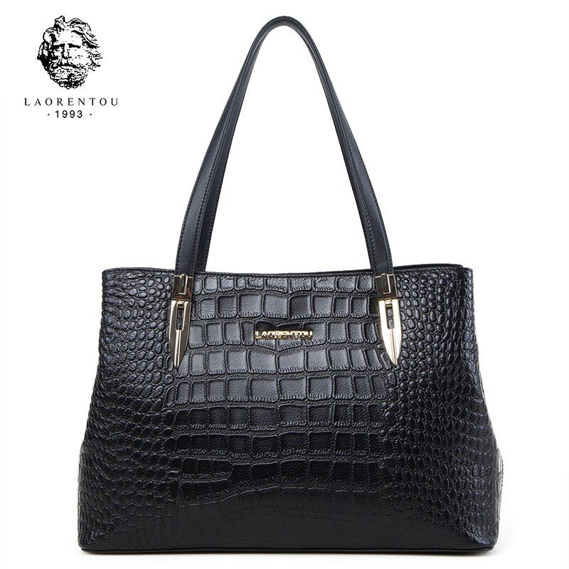 Laorentou Women Bags Handbag Crocodile Top-Handle Bags Women Purse Lady Real Leather Tote Bag Valentine's Day Present for Women