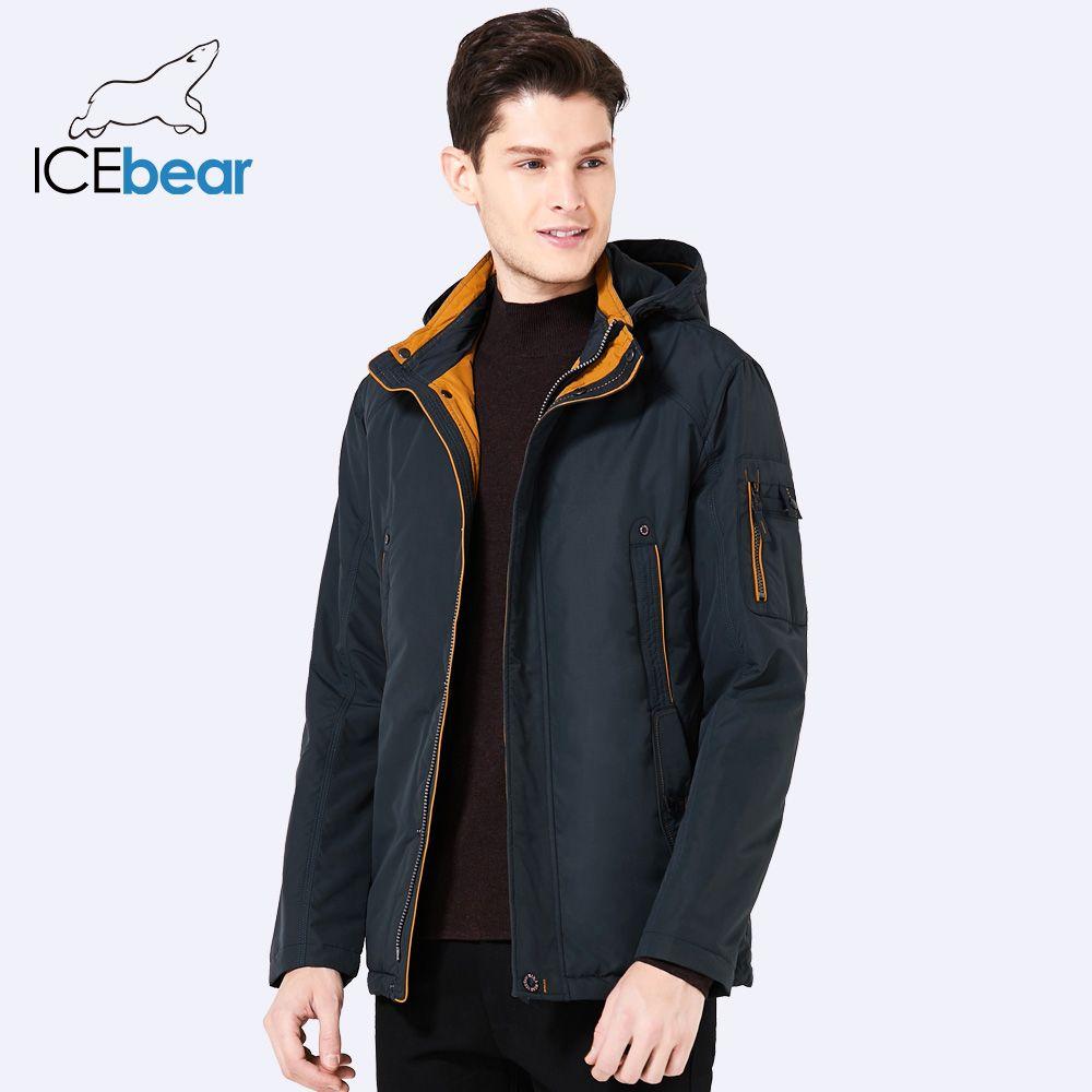 ICEbear 2018 Three Colors Large Size Polyester Thin winter jacket Men parka Spring Casual Warm Coat 17MC853D