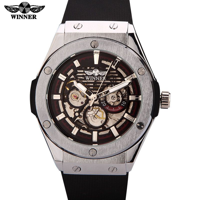 WINNER watches men luxury brand sports casual military clock <font><b>wristwatches</b></font> automatic wind mechanical skeleton watch rubber strap