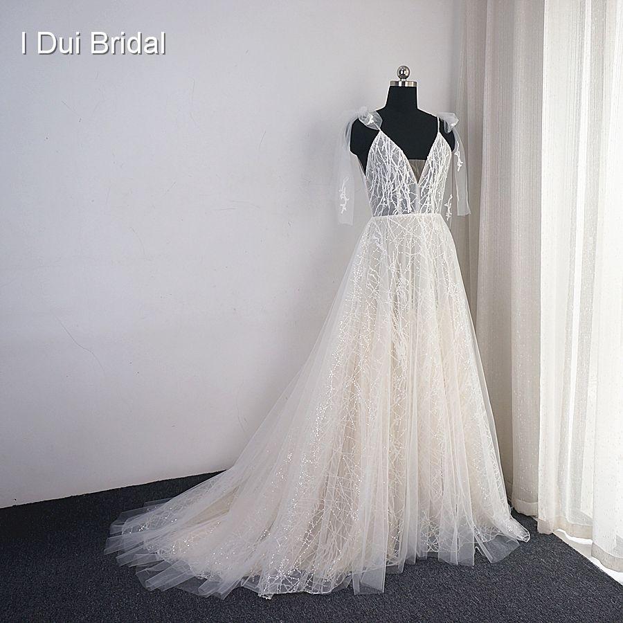 Pailletten Shinny Spitze Hochzeit Kleid mit Bogen Binden Gurt Boho Brautkleid Fabrik Real Photo