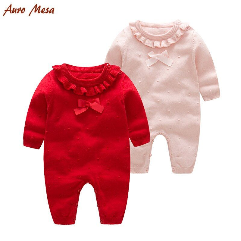 Infant newborn Baby Girl Knit Romper Red, Pink Baby Princess Clothes Bow Baby Jumpsuits Bebes one piece Clothing