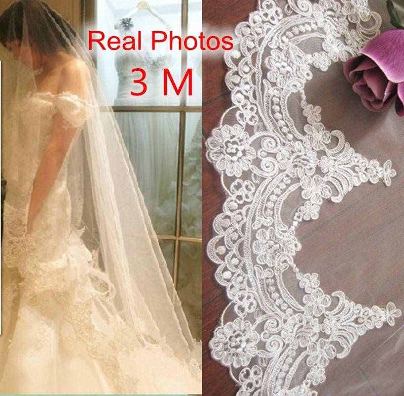 Vraies Photos 2018 3 m Blanc/Ivoire Belle Cathédrale Longueur Dentelle Bord De Mariage Voile De Mariée Avec Peigne Accessoires De Mariage MD3084