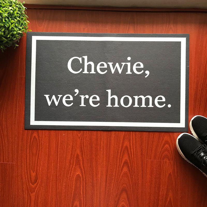 Rubber Door Mat Doormat Entrance Floor Mat Funny Door Mat Star Wars Quote Chewie We're Home Doormat Outdoor Welcome Mat