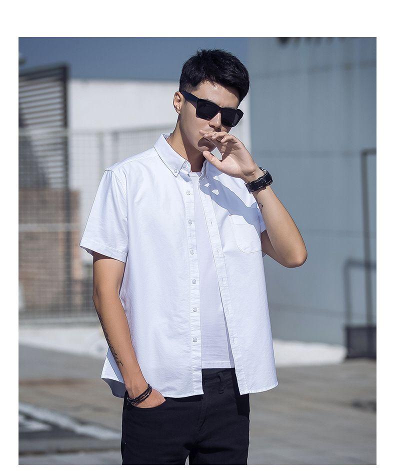 Men's wear  2018 new men's shirts high street embroidery short sleeve lengthened arc lower hem loose