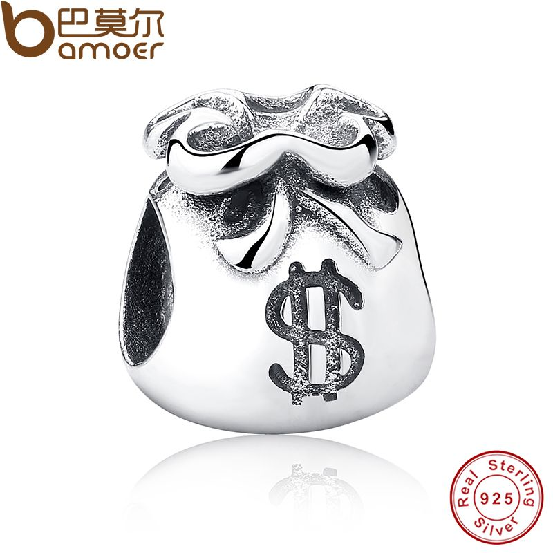 New Year Gift 925 Sterling Silver Small Beautiful Money Bags Charms Fit Bracelet & Necklace Jewelry Accessories PAS198