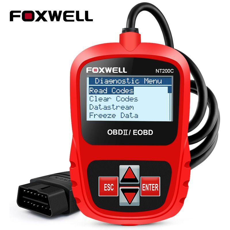 FOXWELL NT200 OBD2 Car Auto Diagnostic Scan Tool Multi-languages OBDII EOBD Engine Fault Code Reader Scanner Automotive