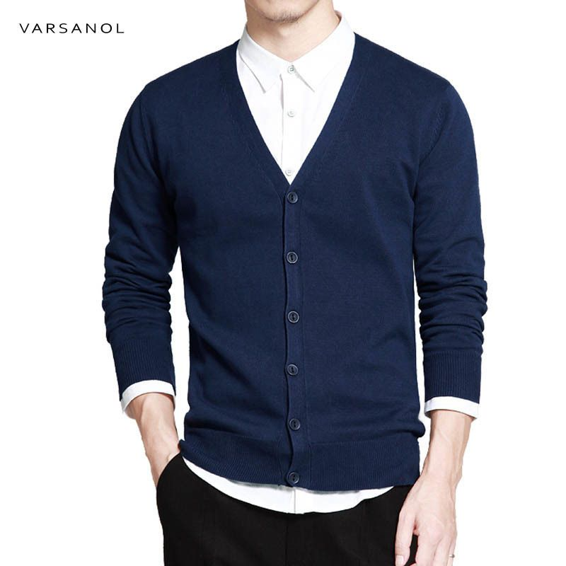 Varsanol coton chandail hommes à manches longues Cardigan hommes v-cou chandails lâche solide bouton Fit tricot Style décontracté vêtements nouveau