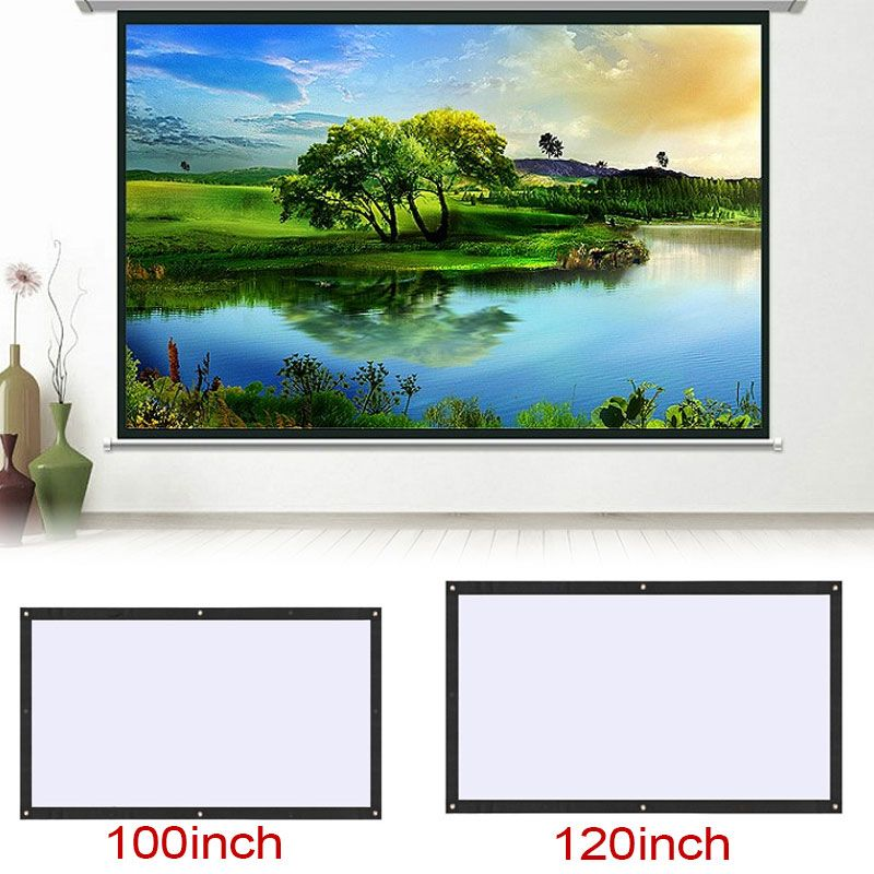 Projection Screen Movie 100/120 Inch 16:9 Portable Foldable Projection Curtain Video Projection Projector Accessories Home