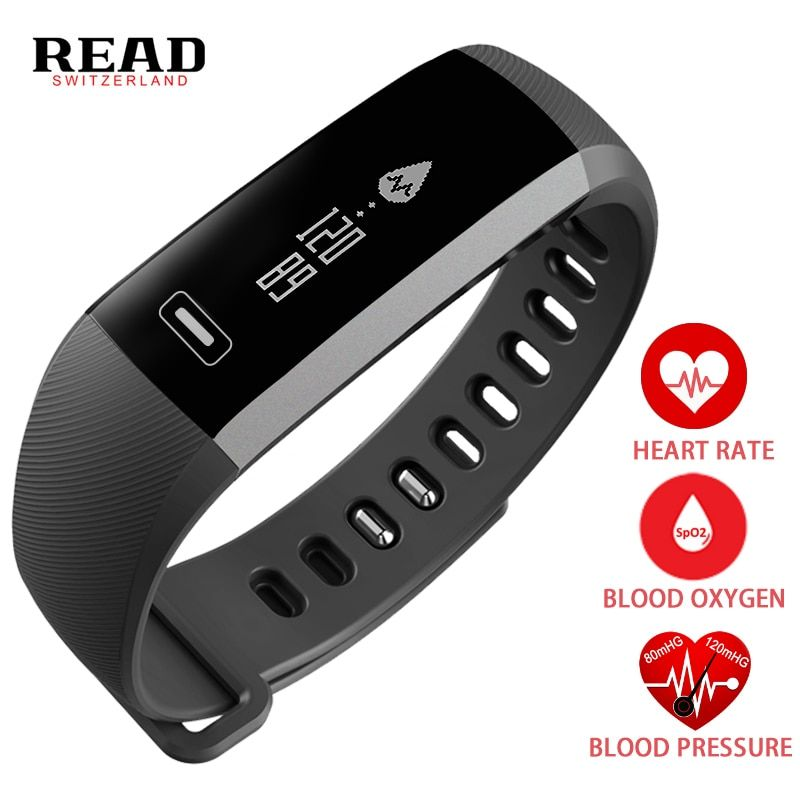 Smart Bracelet Band Heartrate Blood Pressure Oxygen Oximeter Sport Bracelet Clock Watch men intelligent For iOS Android R5 READ