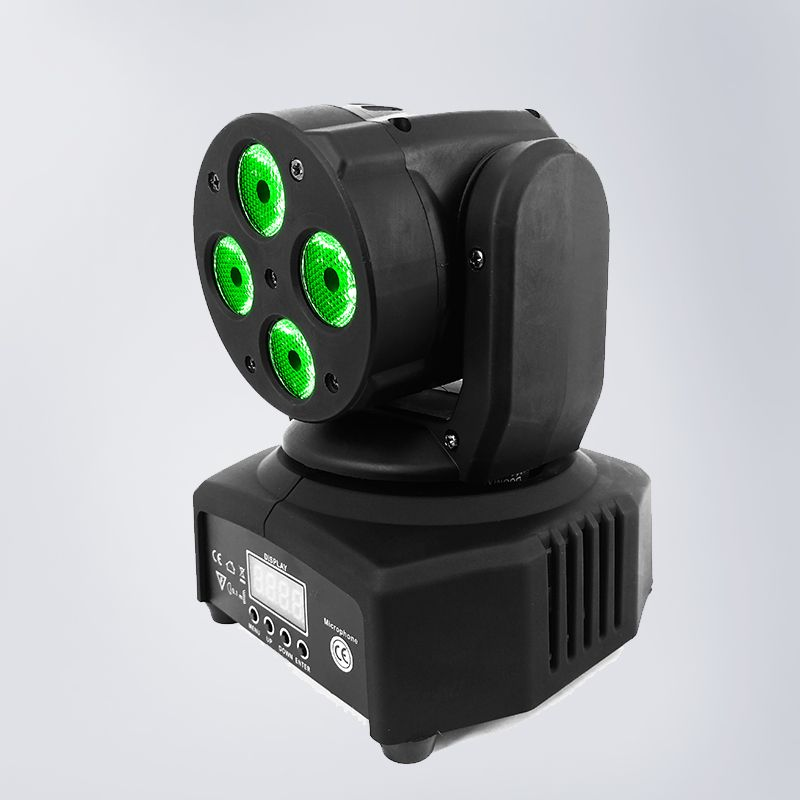 9/12 Channel Mini LED Moving Head 4x10W RGBW 4in1 Lighting 100W Sound Active Christmas Decorations DMX-512 LED Stage Light