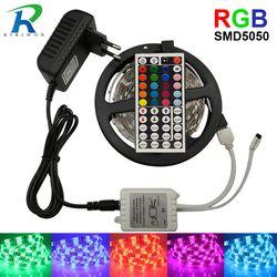 СВЕТОДИОДНАЯ лента SMD 5050 RGB лента Диодная лента RGB 5050 DC 12 V 5 M 10 M гибкая лента полный набор DIY контроллер и адаптер
