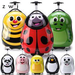 Dibujos Animados equipaje con ruedas + mochila 3D animales niños maleta/PC ABS trolley de viaje maleta/Kid equipaje
