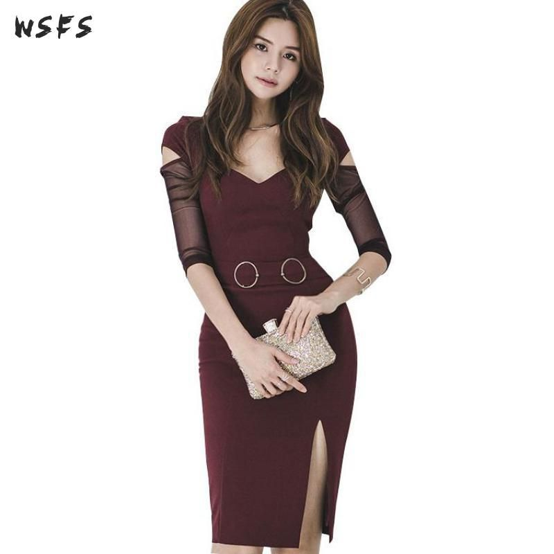 Autumn Women Dresses Red Vneck See Through Long Sleeve Bandage Bodycon Dress Office Ladies Sexy Vintage Party Midi Pencil Dress