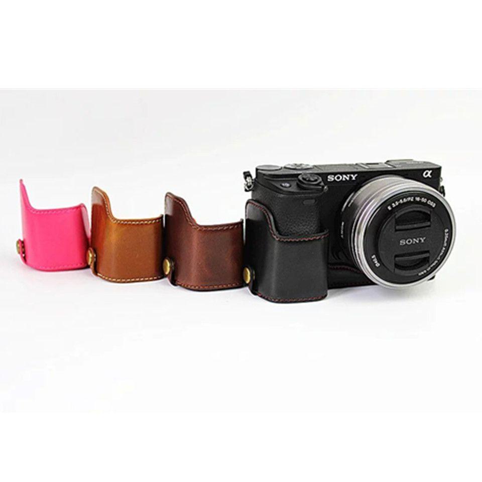 Date Fashional Sac Photo Cas Pour Sony A6300 A6000 PU En Cuir Demi Corps Ensemble Couvercle Avec Batterie Ouverture, livraison Gratuite