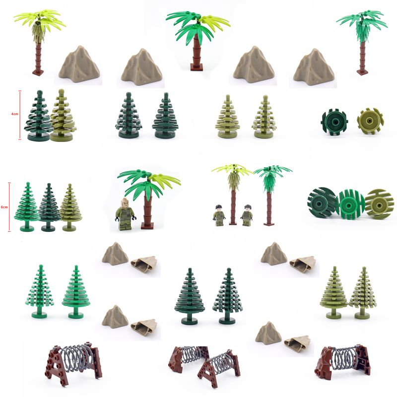 City Military Accessory Building Blocks MOC Weapon DIY Green Bush Tropical tree Rockery Plants Garden Toy LegoINGlys Assemble