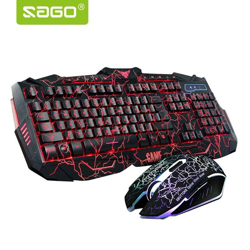 Russian Keyboard Changeable LED with Color Luminous Backlit Multimedia Ergonomic Gaming Keyboard and Mouse Set for Game computer