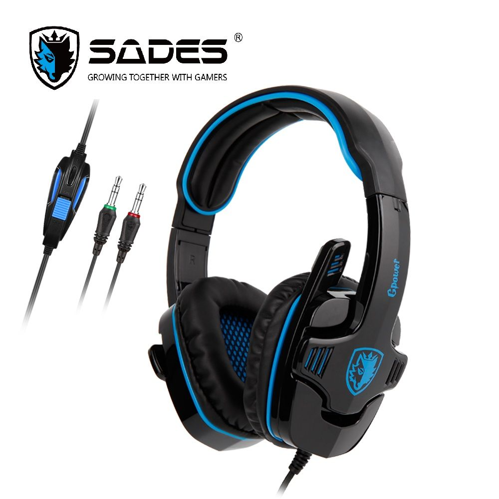 SADES GPOWER Gaming Casque 3.5mm Casque Gamer Stéréo Sonore omnidirectionnelle Mic Pour PC