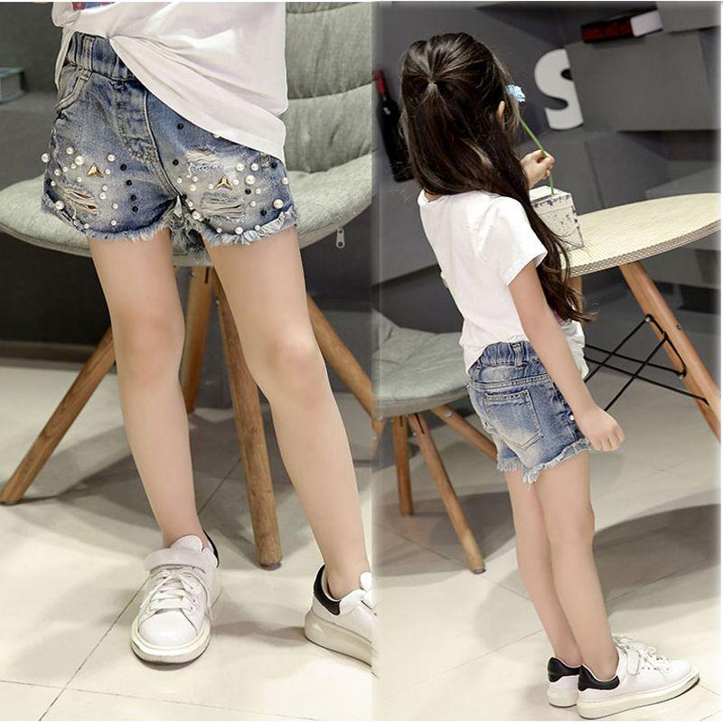 2017 летние девушки джинсовые шорты мыть водой отверстие жемчужные ковбойские штаны Большие размеры для девочек джинсовые укороченные штаны