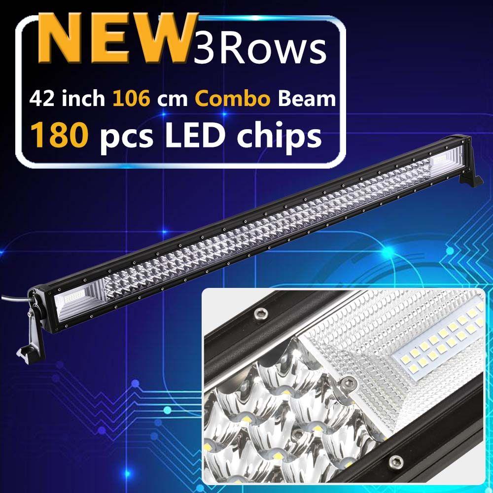 Real Power 42 Inch 3 Rows Led Work light Led Bar for Off Road 4x4 4WD ATV UTV SUV Driving Light Truck Led Light Bar Auto Lamp
