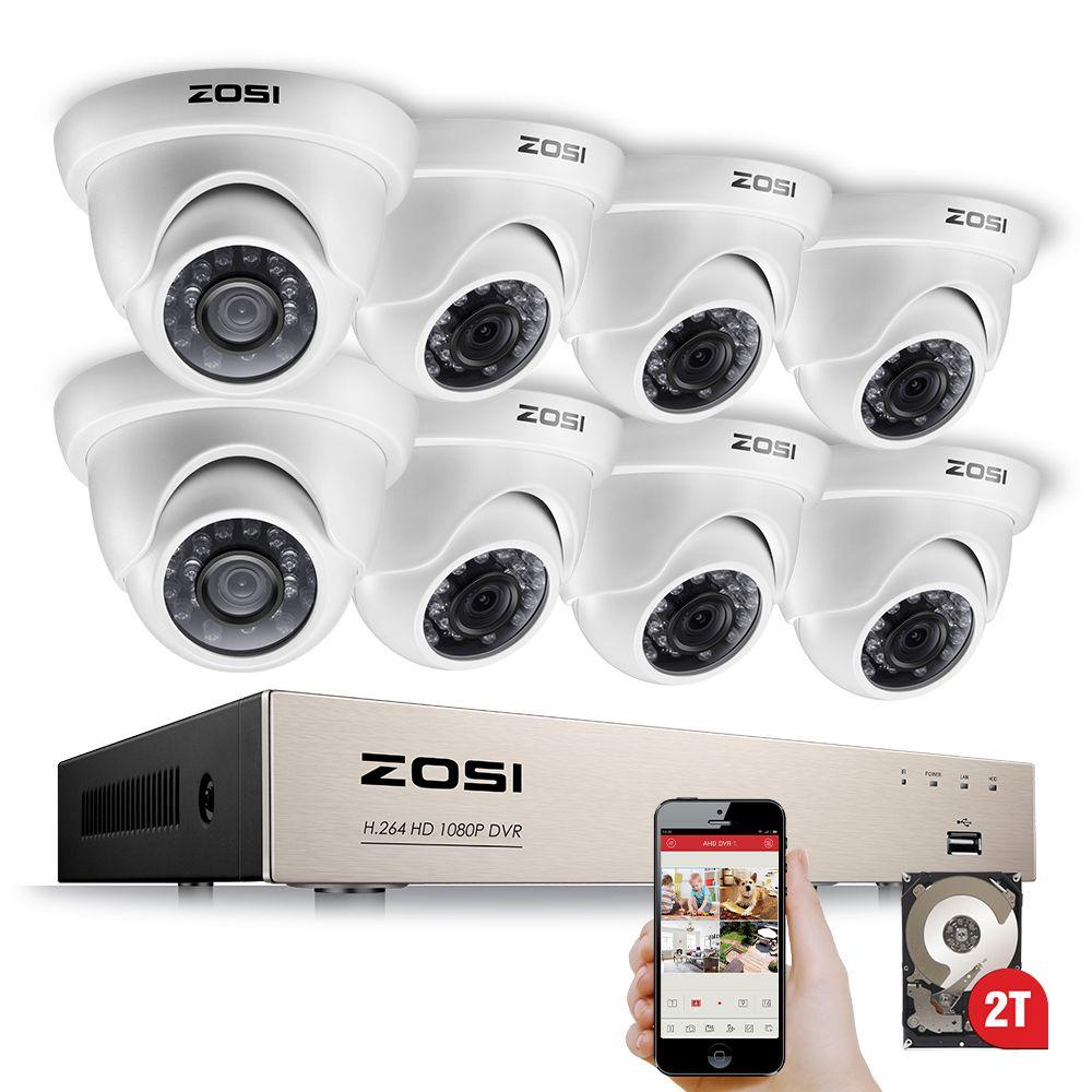 ZOSI 1080 p Sicherheit Kamera System 8CH CCTV System 8x2,0 megapixel Indoor/Outdoor Video Überwachung System Kit bewegungserkennung Warnungen