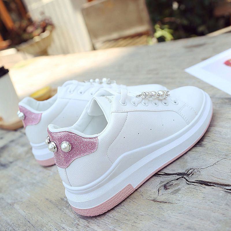 Shoes Woman Flat Version Thick White Adult Shoe Female Sport Shoes Lace Bbeads Breathable Skateboarding Shoes Travel Dia