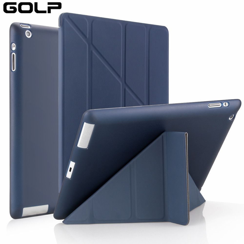 for Apple ipad 2 3 4 Case, GOLP Cover for New ipad 2, flip case for ipad 4, Smart cover for ipad 3, Stand Holder Coque Case