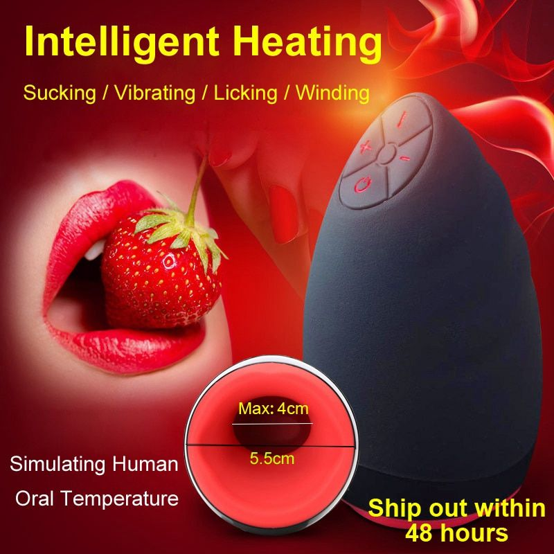 Electric Lick Suck Automatic Oral Sex Machine Male Masturbator Cup 6 Speeds Vibrating Intelligent Heat Realistic Sex Toy For Men