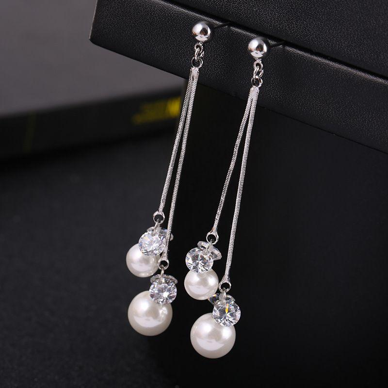 Longue imitation perle clip sur boucles d'oreilles avec brillant strass Bijoux de mode clip oreille non percé oreilles pas pour femmes